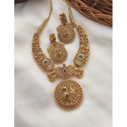 Peacock AD Stone Bridal Necklace