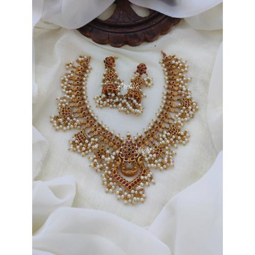Peacock Design Guttapusalu Necklace