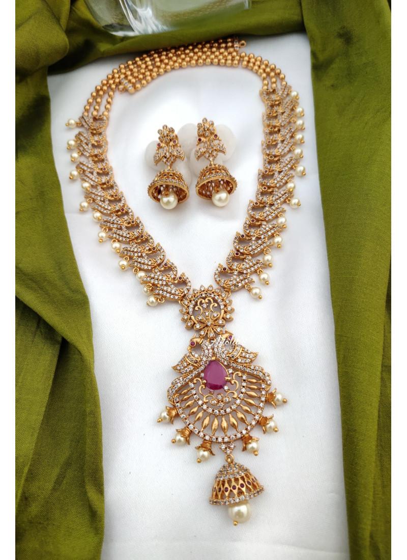 AD Zircon Peacock Design Necklace