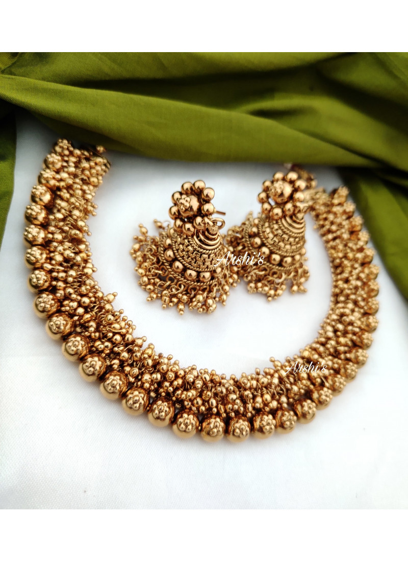 Antique Gold Bead Necklace