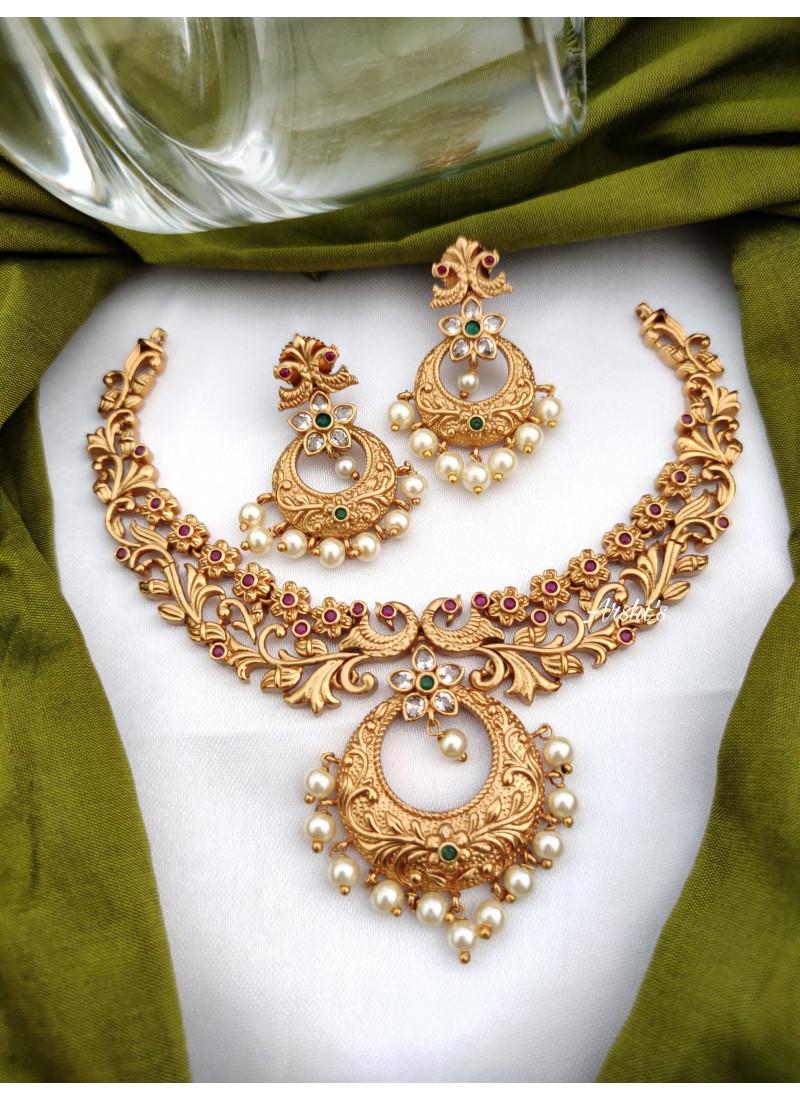 Elegant Matte Chandbali Pendant Necklace