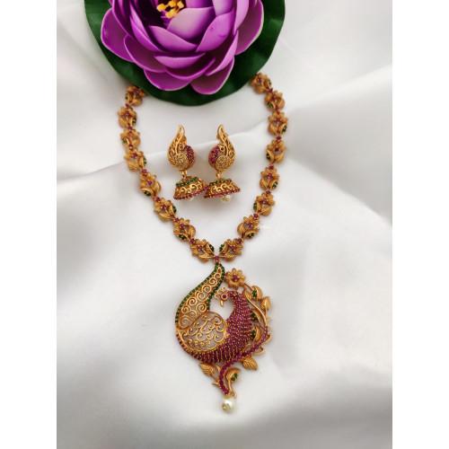 Exclusive AD Stone Peacock Design Necklace