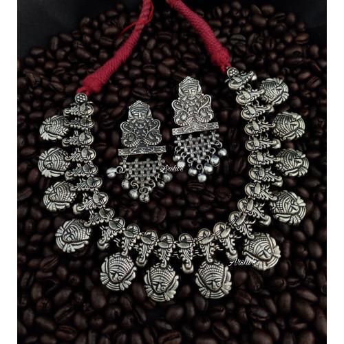 Goddess Durga Beaded German Silver Necklace