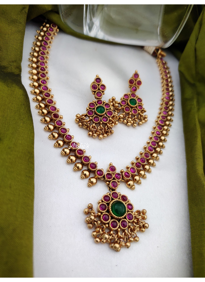 Gold Pearl Antique Red Kemp Necklace
