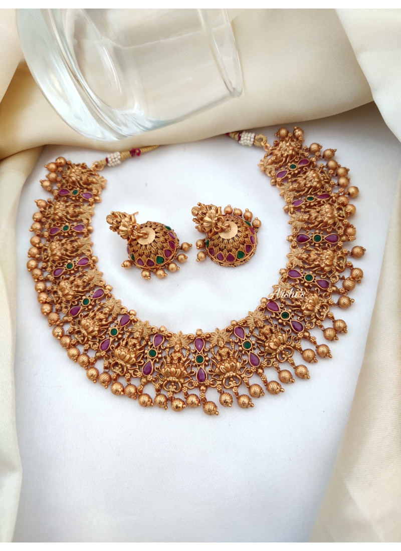 Grand Gold Beads Lakshmi Necklace