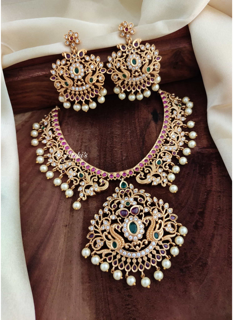 Imitation Beautiful Kemp Peacock Necklace