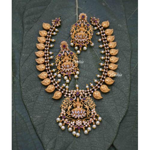 Imitation Grand Lakshmi Mango Necklace