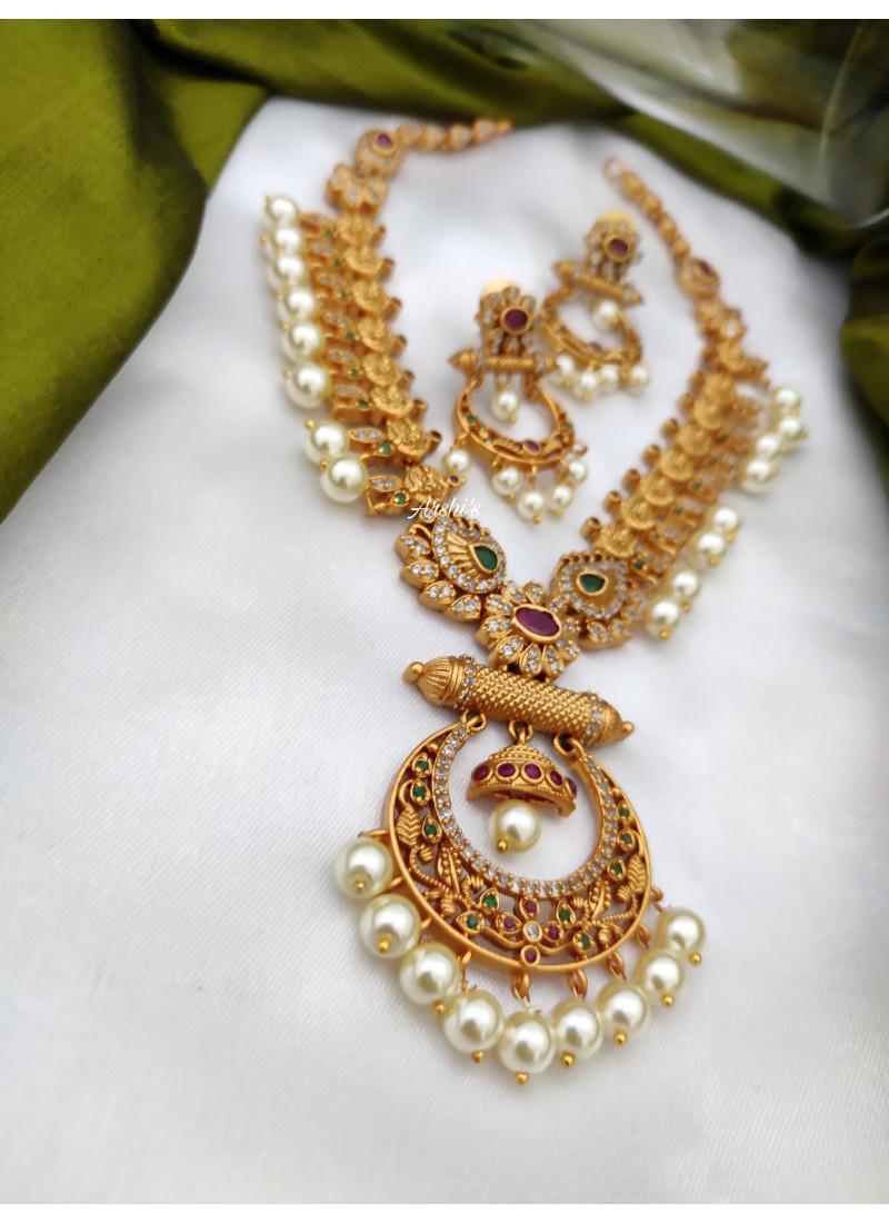 Lakshmi AD Pearl Chandbali Necklace