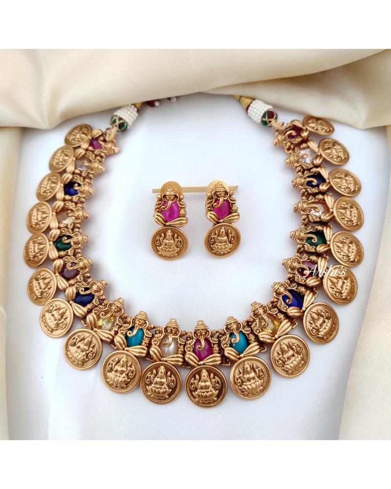 Navarathna Goddess Ganesha Lakshmi Coin Necklace