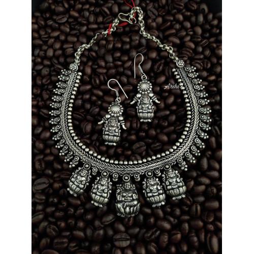Original German Silver Punch Lakshmi Necklace