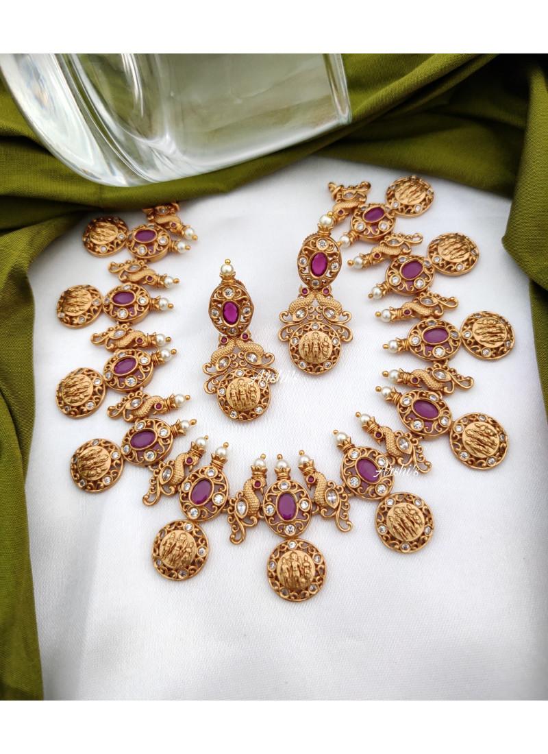 Ruby Peacock Design Ramparivar Necklace