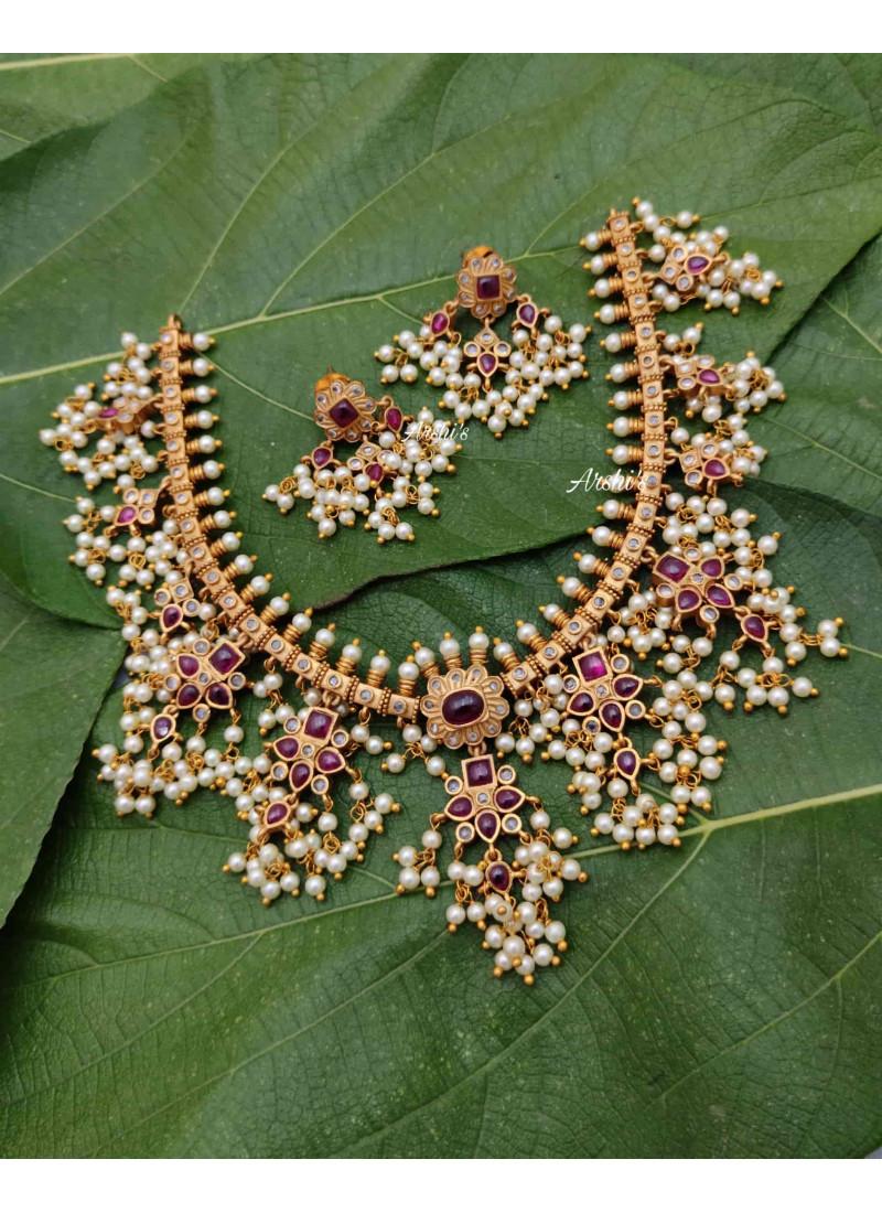 Sparkling Real Kemp Guttapusalu Necklace