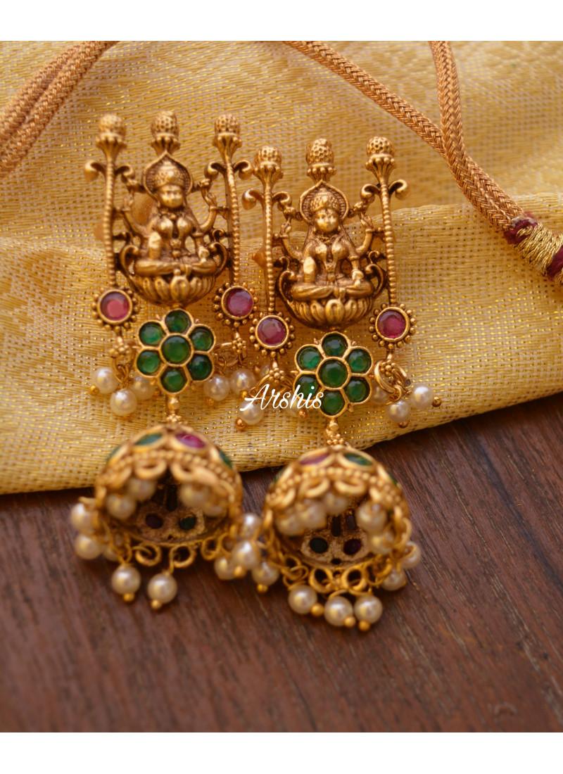 Temple Lakshmi Flower Design Necklace