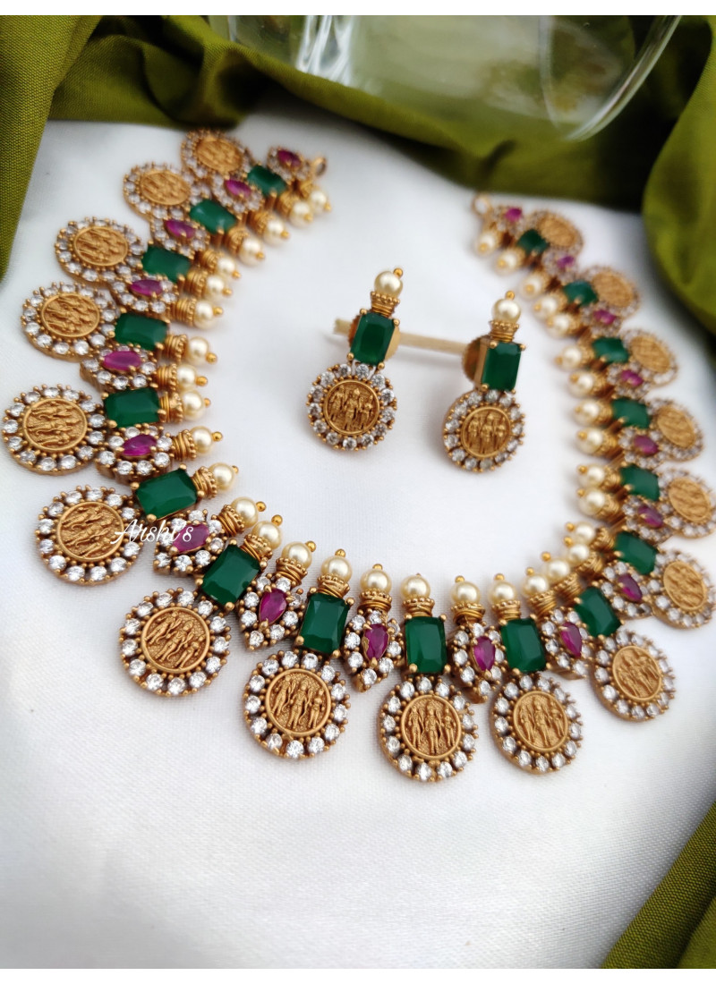 Traditional Emerald Ram Parivar Necklace