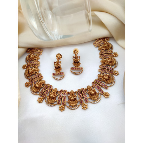 Traditional Ganesha Red Ruby Stone Necklace