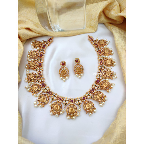 Traditional Goddess Pearl Lakshmi Coin Necklace