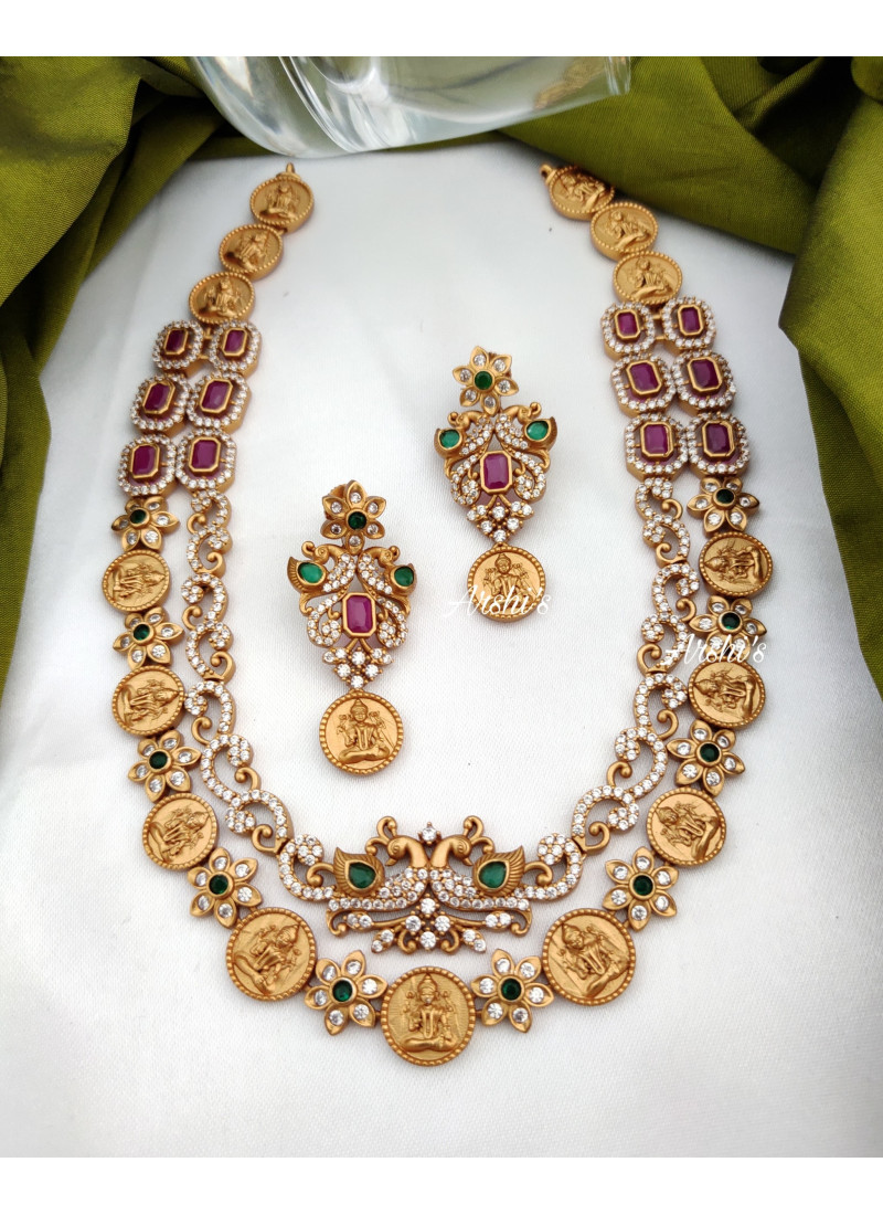 Two Layer Matte AD Lakshmi Coin Necklace