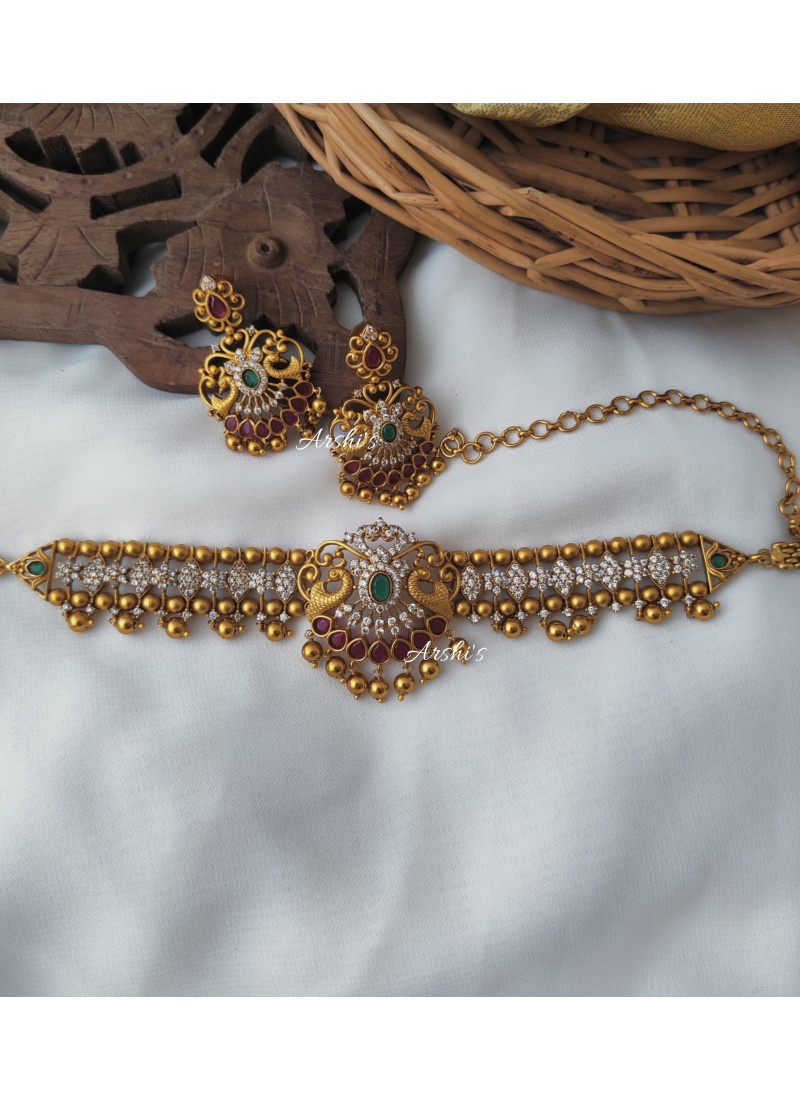 AD Stone Peacock Design Gold Beads ..