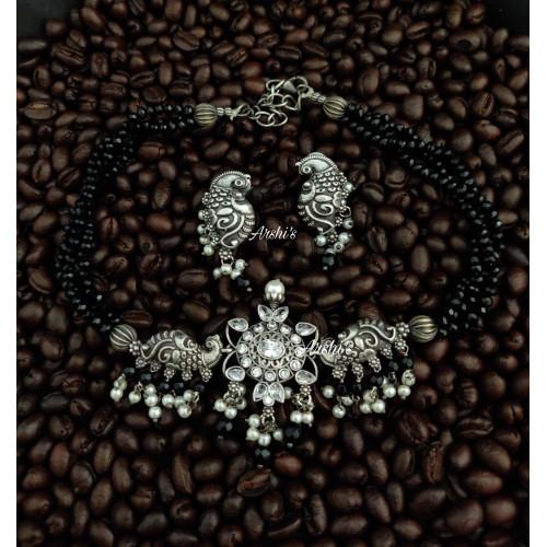 Black Bead Chain with German Silver Pendant Choker