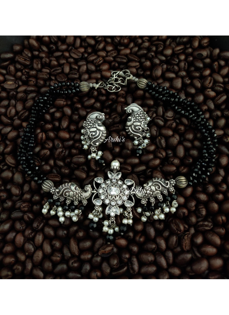 Black Bead Chain with German Silver..