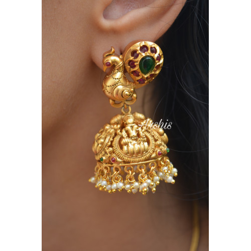 Traditional Lakshmi Peacock Design Jhumka