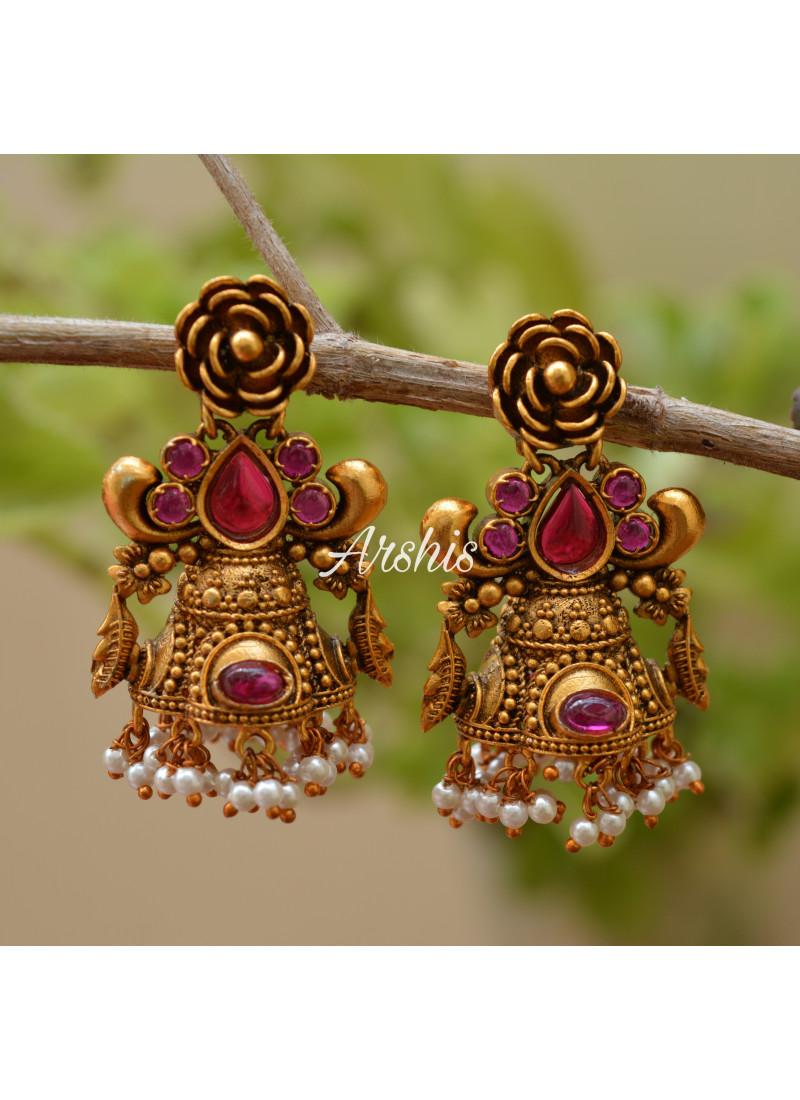 Kemp and Green Flower Design Jhumka