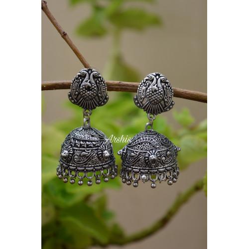 Beautiful Peacock Design German Silver Earrings