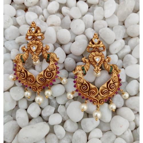 Peacock Chandbali Pearl Earrings