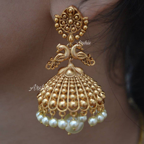 Antique Peacock with White Pearl Drop Jhumka