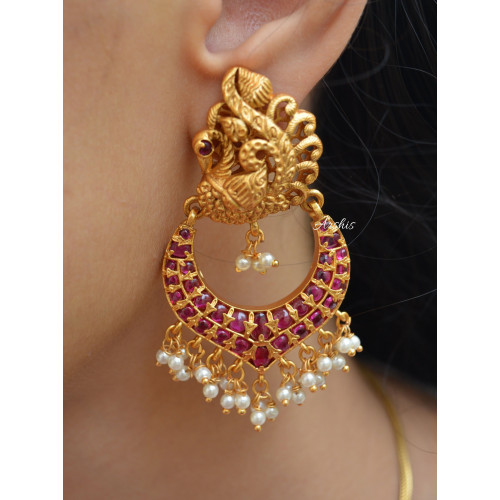 Peacock Design Real Kemp Earrings