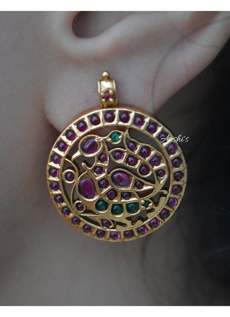 Beautiful Pure Kemp Peacock Earrings