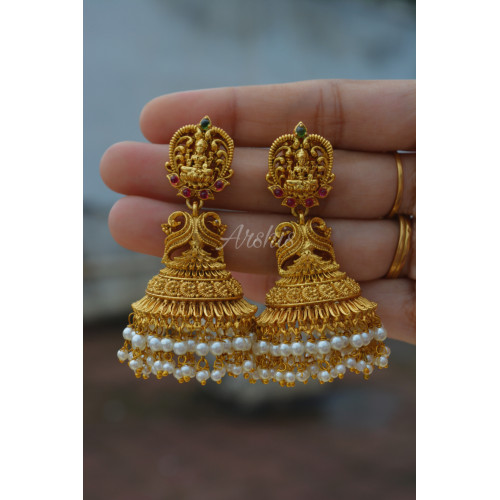 Fabulous Pearl Beads Bridal Jhumkas