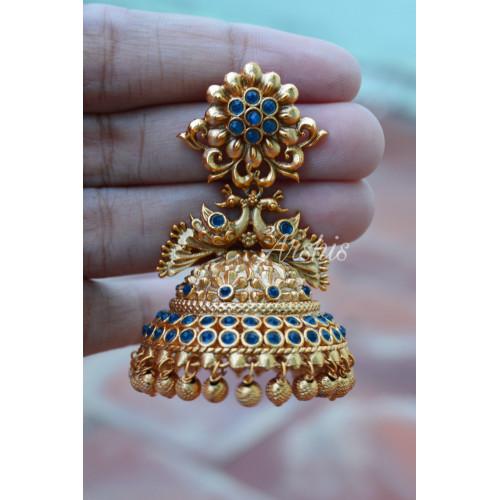 Bridal Gold Bead Antique Peacock Jhumka