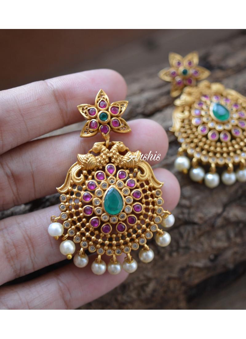AD Stone Stylish Chandbali Earrings