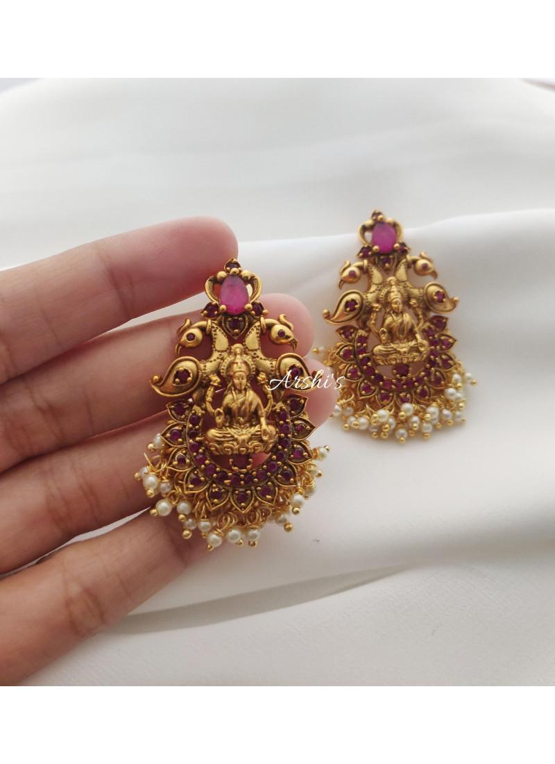 Full Ruby Lakshmi Peacock Earrings