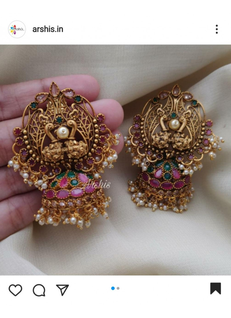 Grand Red and Green Stone Dual Peacock Jhumka