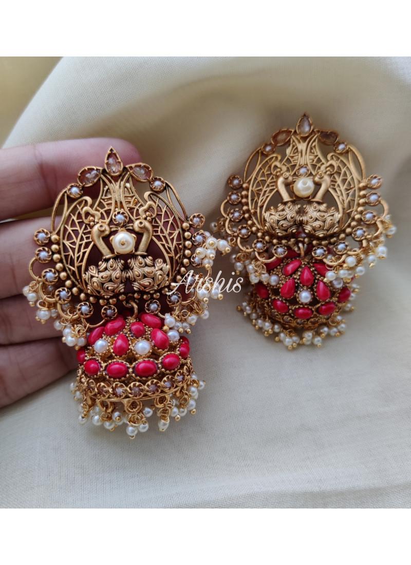 Grand Red Stone Dual Peacock Jhumka