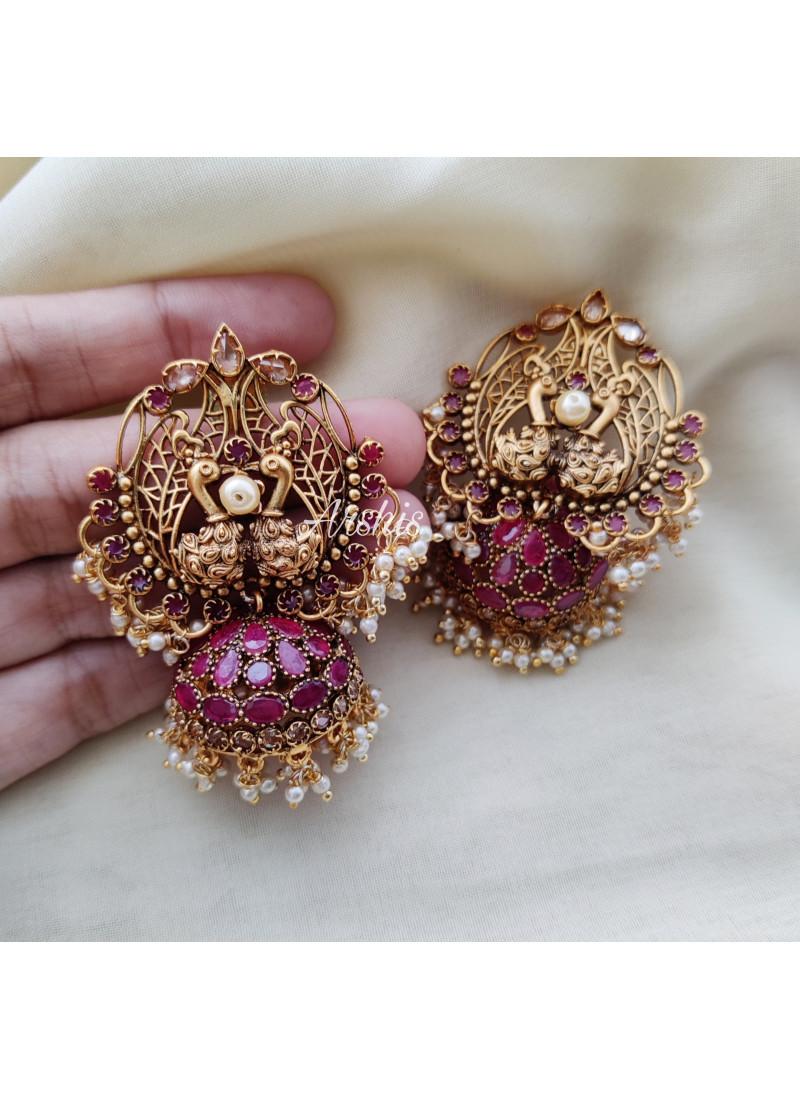 Grand Pink Stone Dual Peacock Jhumka
