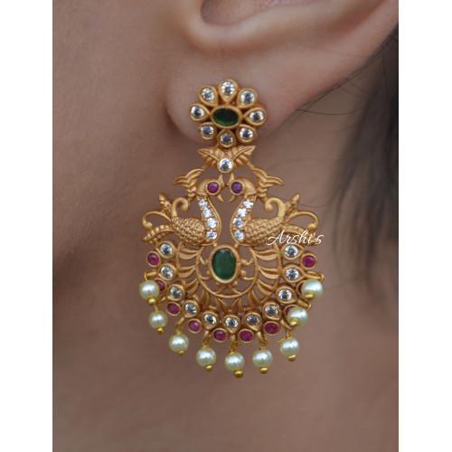 Imitation Dual Peacock Design Chandbali Earrings