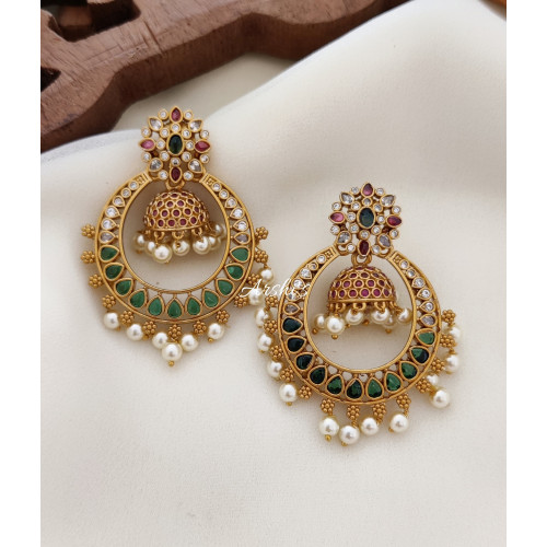 Trendy Chandbali Earrings with Jhumka Hangings
