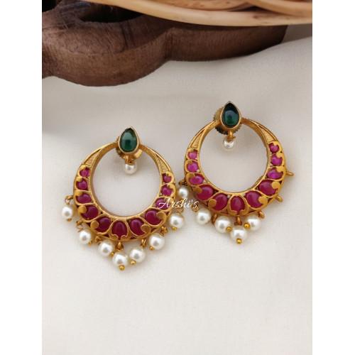 Real Kemp Chandbali Earrings