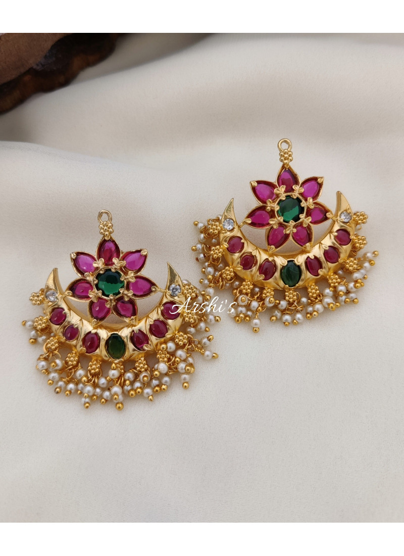 Imitation Flower with Moon Design Earrings