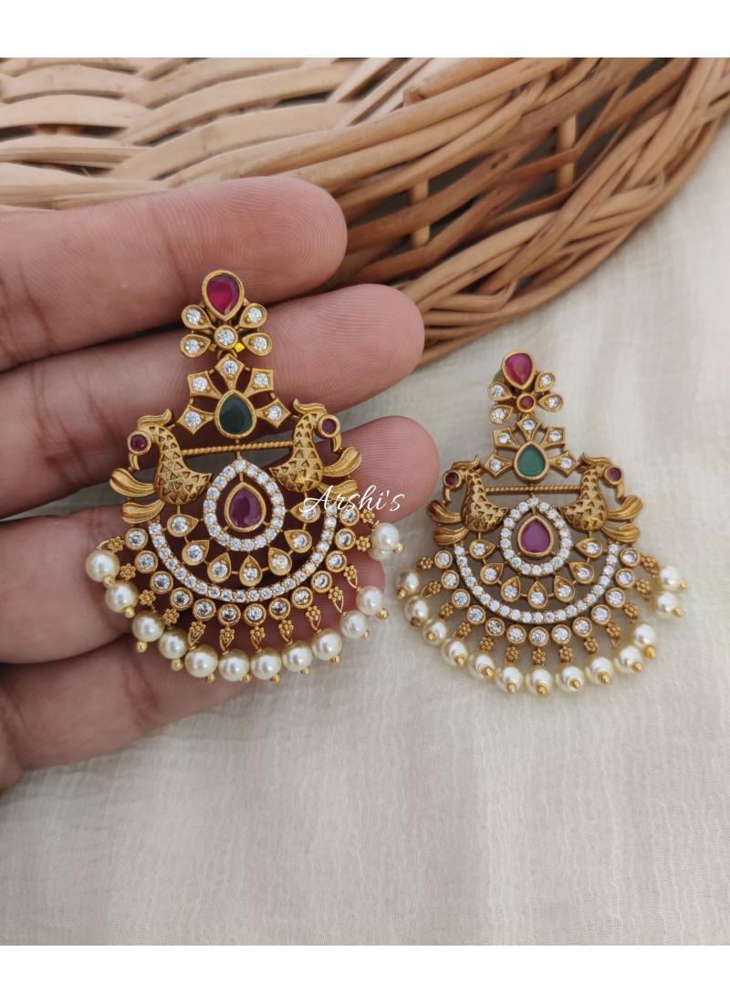 Chandbali AD Peacock Earrings