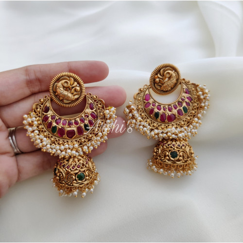 Heavy Bridal Peacock Real Kemp Jhumka