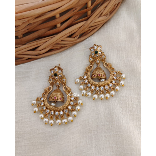 Adorable Chandbali Earrings with Pearls