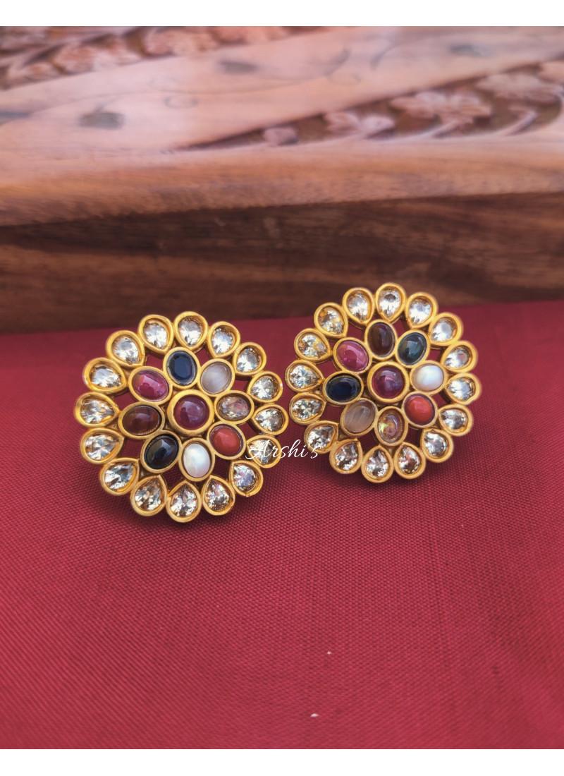 Navarathna Stone Ear Studs