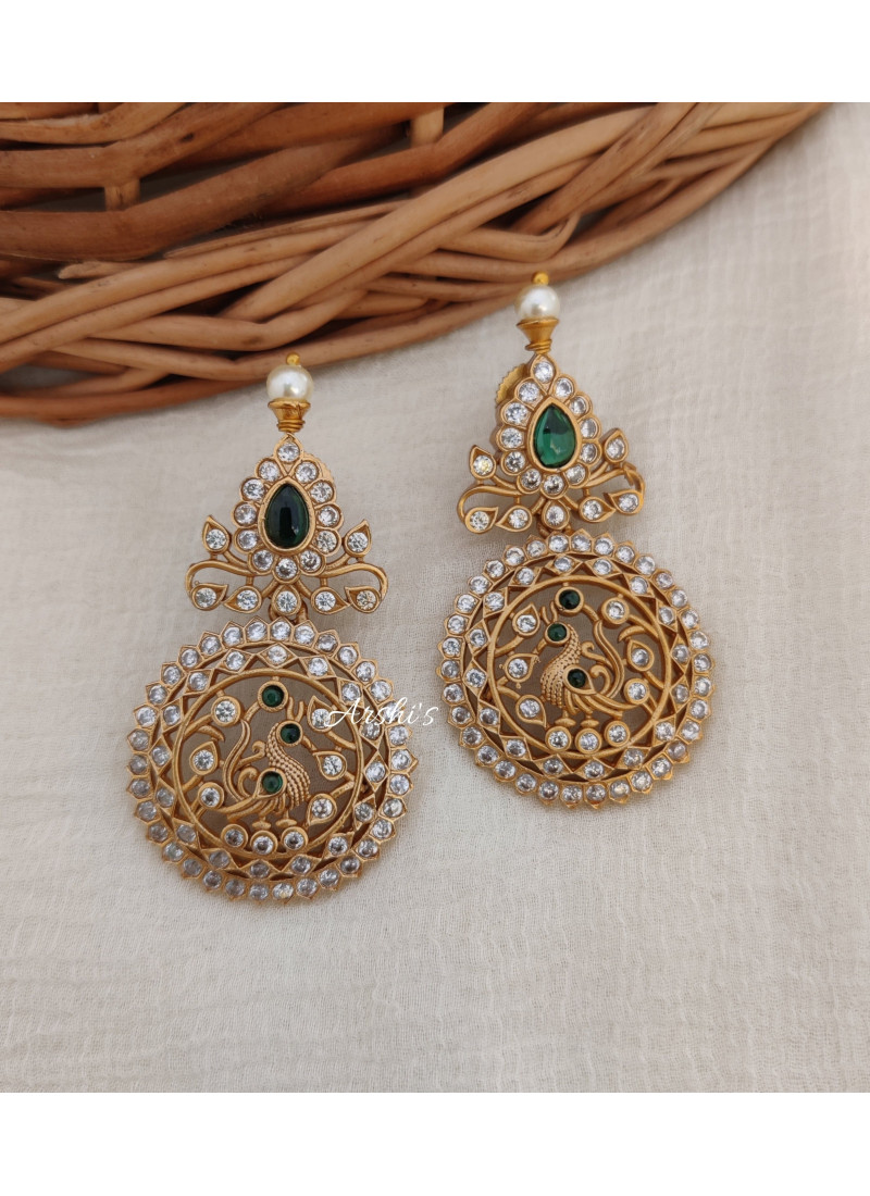 Imitation Peacock Green AD Stone Earrings