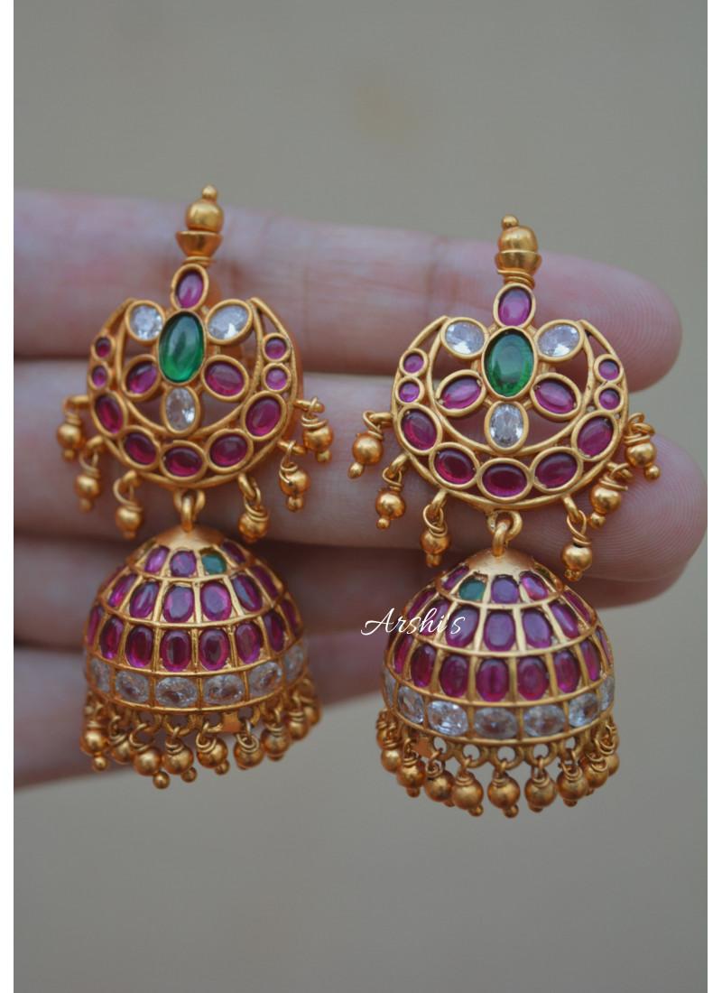 Gold Bead Real Kemp Jhumka