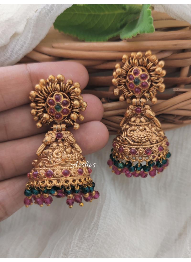 Classic Beads Peacock Jhumka