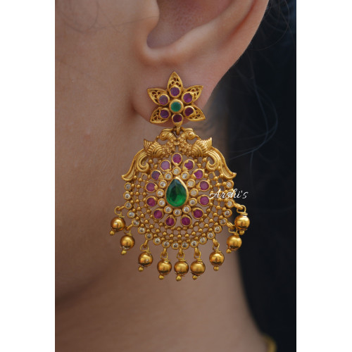 Gold Bead Multi Stone Chandbali Earrings